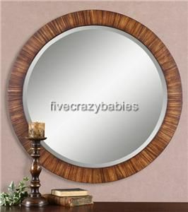 Gorgeous Zebra Wood Round Wall Mirror Extra Large XL Golden Classic