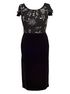 Chesca Floral trim velvet dress Black