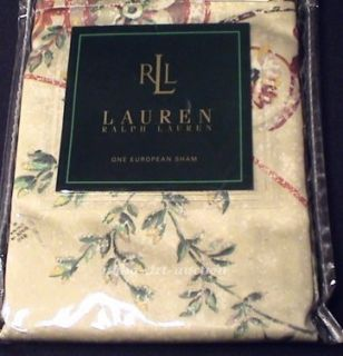 New Ralph Lauren Villandry Floral Euro Pillow Sham Cream Ivory Toile