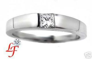30 Princess Cut Diamond Solitaire Mens Wedding Band