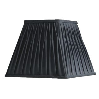 New 14 in Wide Square Lamp Shade Black Faux Silk Fabric Laura Ashley