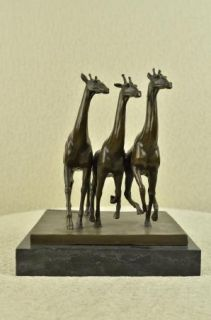 Giraffe and Baby Giraffe Large Cast Bronze Statue Landscape Animals