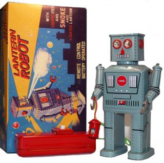 Smoking Robot Tin Toy with Lantern Battery Operated