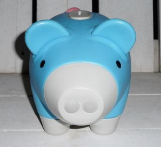 Classic Piggy Bank BLUE Plastic Coin Money Pig Childrens Toy LARGE