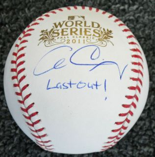Cardinals Allen Craig Signed 2011 World Series Baseball w Last Out