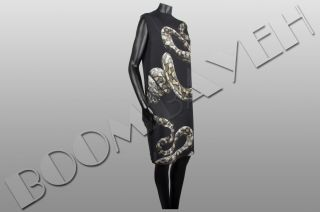 Lanvin RP 1700$ Sleeveless Snake Print Silk Shift Dress