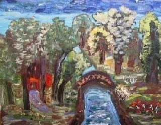 Original Landscape Self Taught Naive Folk Outsider Mary Carol Art