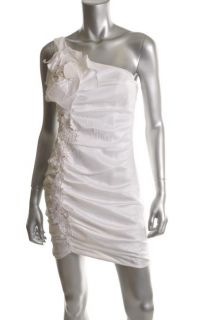 Laundry by Design New White Beaded Floral Applique One Shoulder