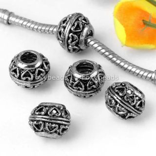 20P Tibetan Silver Heart Large Hole Beads Fit Bracelet