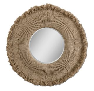 Rustic Extra Large Round Natural Hemp Rope Wall Mirror Lodge Sunburst