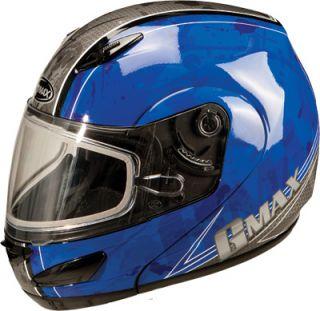 Large 2013 GMAX GM44S Blue Modular Snowmobile Helmet Double Shield