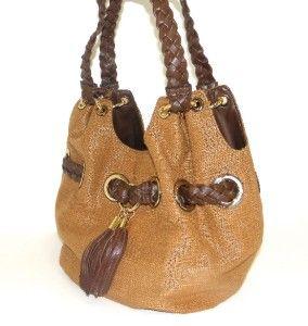 New Michael Kors Braided Grommet Large Brown Straw Tote Bag