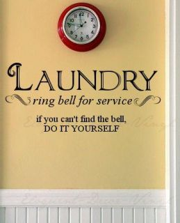 Laundry Room Ring Bell Wall Decal Words Quote
