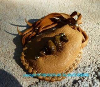 Gemstone Rattle Snake Amulet Medicine Bag Native American