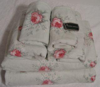 Laura Ashley Rosemoor Pink Rose Green Bath Towel Sets 6pc