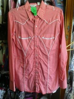 Red White Checkered Western Shirt Rockabilly Cowboy Ely H Bar C