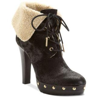 Michael Michael Kors Lara Black Suede Shearling Platform Bootie Shoes