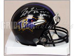Ray Lewis Autographed Baltimore Ravens Mini Helmet w 03 00 Dpoy