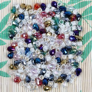 Wholesale 100pc Mixed Crystal Drop Big Hole Bead Fit European Charm