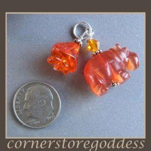 Orange Cats Eye Hippo Hippopotamus Charm
