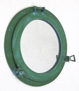 Large Aluminum Green Finish 17 Ships Porthole Mirror Round Nautical