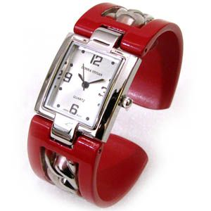 Red Silver Chain Style Inlay Band Large Bangle Cuff Watch