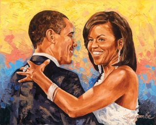 Obama Oil Painting Canvas at Last by KYEGOMBE
