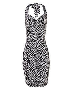 Jane Norman Chain print halter neck dress Black