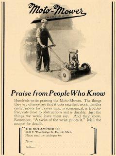 1927 Ad Moto Mower Company Garden Tool Lawn Cutter   ORIGINAL
