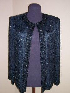 Laurence Kazer Vtg Black Evening Cover Jacket Beaded Silk Embelished S