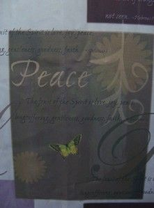Fabric Shower Curtain Peace Joy Love Lavender Purple Brown Tan NEW