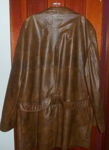 Vtg Lauer Leathers Fully Lined Brown Leather Blazer Jacket Sz 48 Long