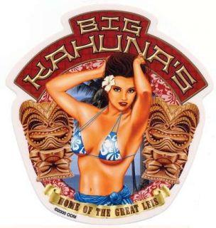 Big Kahunas Hawaiian Island Bikini Girl Sticker Decal