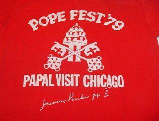 Vintage Pope Fest 1979 Papal Visit Chicago Catholic T Shirt Sz Mens L