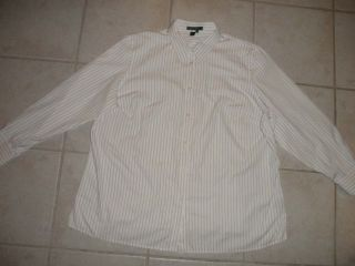 Lauren Ralph Lauren Womens Dress Shirt 2X 32 White Yellow Stripes