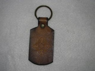 Vintage Tooled Leather Hippie Boho Key Ring Chain Holder