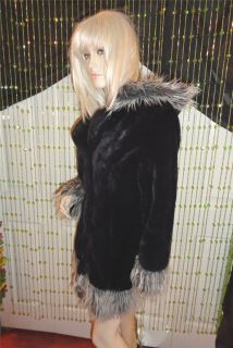 Le Chateau Luxurious Black Fur with Shaggy Fur Trim Hood Winter Jacket