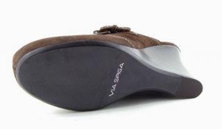 VIA SPIGA LAVA T. Moro Brown Suede Womens Designer Shoes Clog Mules