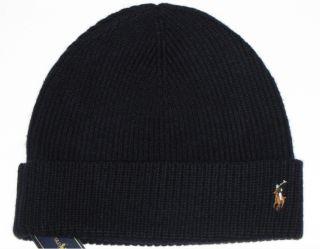 Polo Ralph Lauren Mens Knit Hat Skull Beanie Navy Blue 100 Merino Wool