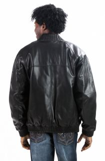 Face Mens New Premium Leather Hip Hop Bomber Baseball Jacket