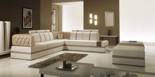 Furniture 5013 White Light Brown Bonded Leather Sectional Sofa
