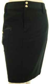 Lauren by Ralph Lauren Designer Petite Black Cotton Skirt Womens US