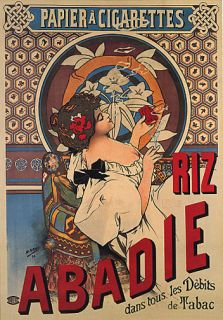 Riz Abadie Girl Smoking Cigarettes Tabaco Repro Poster