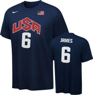 Lebron James Navy Team USA 2012 Basketball Olympics Nike T Shirt Sz