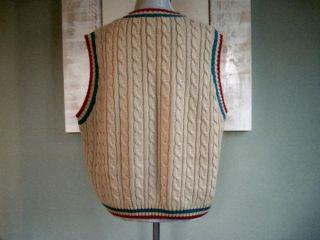 Lavon Sport Tan Cabled V Neck Golf Sweater Vest Medium
