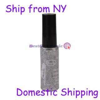 Glitter Nail Art Striping Brush Polish Varnish Silver