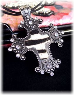 Cowgirl Zebra Print Rhinestone Stud Cross Necklace Leather Cord