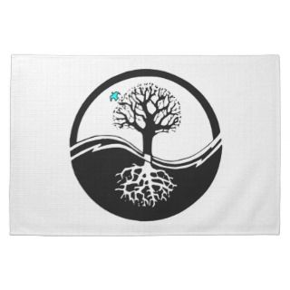 Yin Yang Tree Of Life Black & White Kitchen Towels