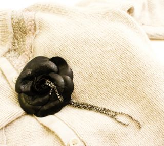 AUTHENTIC CHANEL BLACK LEATHER CAMELLIA FLOWER W CHAINS PIN BROOCH