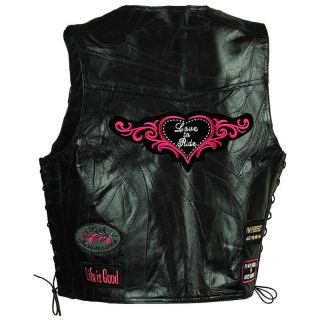 Ladies Womens Black Leather Motorcycle Vest w Patches